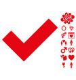 ok tick icon with dating bonus vector image vector image