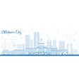 outline oklahoma city skyline with blue buildings vector image vector image