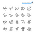 plant line icons editable stroke vector image vector image