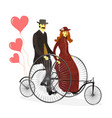 retro loving couple on bicycles with balloons vector image vector image