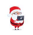 santa claus glasses digital tablet reads wish list vector image vector image