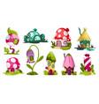 set fairytale houses collection cartoon vector image
