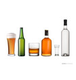 set with various glasses and bottles alcohol vector image