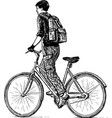sketch teen student with backpack riding a vector image
