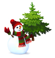 Snowman with pine tree drawing vector image