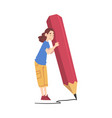 tiny girl holding huge pencil girl writing in vector image