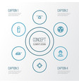 warfare outline icons set collection of military vector image