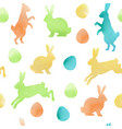 watercolor easter seamless pattern with rabbits vector image