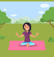 woman doing yoga in park on rug fitness training vector image