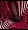wormhole optical illusion glossy red background vector image