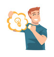 young man holding speech chat bubble with light vector image vector image