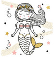 cute mermaid character in hand drawn style vector image
