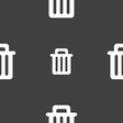 Recycle bin icon sign Seamless pattern on a gray vector image