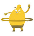 funny smiling lemon character with hula hoop vector image