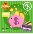 Piggy bank with coins income series vector image