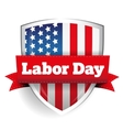 Labor Day sign with USA flag shield vector image