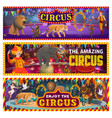 big top circus arena clowns tamer wild animals vector image vector image