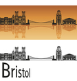 Bristol skyline in orange background vector image vector image