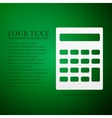 Calculator flat icon on green background Adobe vector image vector image