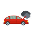 car in smoke icon flat style vector image