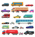 cartoon bikes trucks and public transport vector image