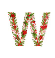 christmas floral tree letter W vector image vector image