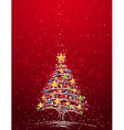christmas tree on the red background vector image vector image