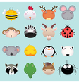 Cute cartoon animal head set 2 vector image