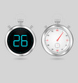 digital and analog speedometers timers set vector image vector image