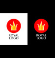 emblem with golden crown on red round form vector image vector image