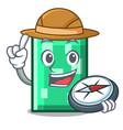 explorer rectangle mascot cartoon style vector image