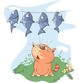 fish and Cat Cartoon vector image vector image