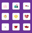 flat icon amour set of heart present patisserie vector image vector image