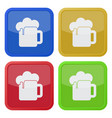 four square color icons beer with foam vector image