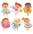 happy childrens dressed in rubber circles playing vector image vector image