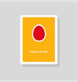 happy easter greeting card with egg minimalist vector image vector image