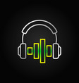 headphones with green sound equalizer vector image