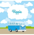 Hippie vintage mini van template vector image