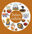 indian culture promo poster with national symbols vector image
