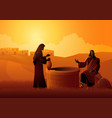 jesus talking with samaritan woman at jacob s vector image vector image