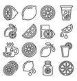lemon and lime icons set on white background line vector image vector image