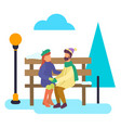 lovers sitting on bench in winter park vector image vector image