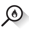 magnifying glass with fire icon vector image vector image