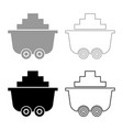 mine cart or trolley of coal icon set grey black vector image
