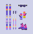 pairs of skis poles boots gloves mask winter vector image vector image