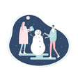 people building a snowman - flat design style vector image