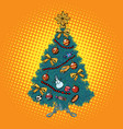 pop art christmas tree with decorations vector image