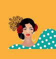 portrait flamenco woman beauty spanish girl vector image vector image