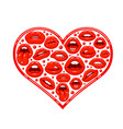 red lips in form heart vector image
