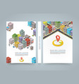 Road in the city isometric banner location book